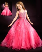 Wholesale Gorgeous Pageant Dresses Junior - 2016 New Summer Gorgeous Junior Size Crystal Beaded Spaghetti Little Girl's Long Pageant Dress Kids Pageant Gown Kids Prom Dresses