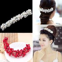 Wholesale Bride Hairpiece - Fashion Headband Hair Accessory Wedding Tiara Crown Pearls Bride Hairpiece Crystal Rhinestone Hair Pins Applique Clip