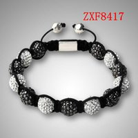 European & American black onyx shamballa bracelet - Nialaya New high grade Diamonds ball handmade bracelet Shamballa quality goods alloy Plated man and women Adjustable bracelet factoryZXF8417