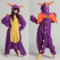 Wholesale Cosplay Pajamas Dragon - Spyro Dragon Unisex Adult Onesie Kigurumi Pajamas Anime Cosplay Costume Dress