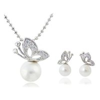Wholesale Wholesale Pearl Necklace Butterfly Earrings - Butterfly Pearl Necklace Earrings Sets Full Rhinestone Jewelry For Women Best Gift Fashion Jewelry Sets 1290