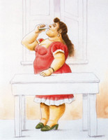 Wholesale Botero Hand Painted - paintings by Fernando Botero,Woman on the Balcony,Home Decor,Hand-painted,High quality