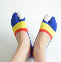 Wholesale Finger Clamps - Wholesale-new Hot Summer 24pcs=12pairs bamboo fiber clamp toe socks men mens finger invisible socks massage wholesale shippment free