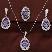 Wholesale Wholesale Jewelry Sets Purple - 5 colors 2016 full lace wedding dresses jewelry necklaces whole set for bride or party jewelry as best gift