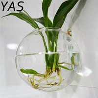 ingrosso piantare giardino di casa-Trasparente contenitore rotondo in vetro trasparente fiore pianta stand appeso vaso idroponica palla casa matrimonio giardino arredamento 1712104