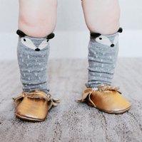 Wholesale Kids Designer Socks - Cartoon Fox Kids Knee High Socks Brand Designer Children Girls sock Baby Girl Leg Warmers Kids Knee High Kawaii Fox Socks Free DHL