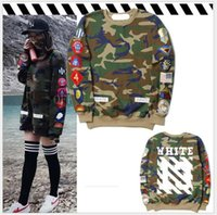 Wholesale Camouflage Outwear - 2018 Camouflage embroidery Women Hoodies Sweatshirts Hiphop Brand Outwear OW 13 Oversized Kanye Sweatshirt female pullover hoodie