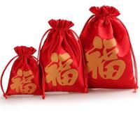 ingrosso borse cinesi rosse-50pcs vari formati Sacchetto cinese di fortuna di alta qualità Sacchetto di seta rosso Borse di gioielli Festa di nozze Candy perline Sacchetti regalo di Natale