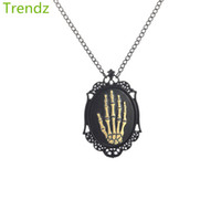 Wholesale Gothic Cameo - Trendz 2016 New Gothic Steampunk Retro Palm Skull Cameo Pendant Necklace Hand Painted Black Chain STPK15072