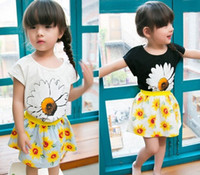 Wholesale Girl Short Flowers - Kid Girls' 2PCS Set Suit Short Sleeve Solid Big Flowers Printed Tops + Sunflower Mini Skirt Fashion Soft Casual N1663