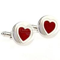 Wholesale Heart Shape Cufflinks - Spot wedding gift cufflinks cufflinks trade - red heart-shaped cufflinks AE1386 Epoxy Technology