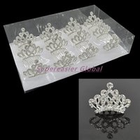 Wholesale Crowns Teeth - 12pcs lot Mini Crystal Clean Transparent Rhinestone Princess Tiaras Crown Hair Comb 5 Teeth Combs Wedding Party Girl Kids Hair Accessories