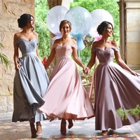 Wholesale Simple Ankle Length Sweetheart - 2016 New Pink Purple Blue Ankle Length Bridesmaids Dresses A Line Off Shoulder Long Satin Cheap Simple Designer Garden Wedding Party Gowns