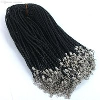 Wholesale Braided Cord Necklaces For Charms - Wholesale-Free shipping 50pcs 46cm Black Leather Braided Charm Woven Necklace Love For Bead lobster Clasp Cords H3810