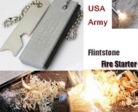 Wholesale Waterproof Magnesium Flint - Wholesale-Fire starter Waterproof Magnesium flint stone pocket Flintstone US Military Outdoor Noctilucent Stick Camping Hunting tool
