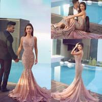 Wholesale Plum Mermaid Dresses - 2016 Arabic Mermaid Prom Dresses Plum Lace Appliques Backless Brush Train Backless Formal Trumpet Evening Gowns Said Mhamad Dress BA0562