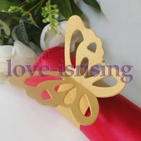 Wholesale Gold Napkin Rings Sale - Hot Sale-100pcs Gold Paper Butterfly Napkin Rings Wedding Bridal Shower Napkin holder-Sample Order