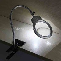 Wholesale Led Table Magnifier - Free Shipping Wholesale LED Table Magnifier Desk Lamp Magnifying Glass Loupe Clamp 2.25X 107MM 5X 22MM order<$18no track