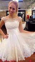 Wholesale China Dress Pattern - Lace White Pearls Cocktail Prom Party Dress 2015 A-Line Short Prom Dresses Above Knee Vestido De Festa China Bridal Dress Fast Shipping