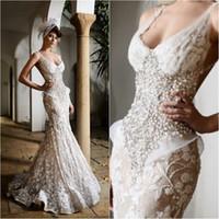 korsett brautkleid mantel großhandel-Charmante Rami Salamoun Mermaid Brautkleider Backless Perlen Perlen Handwerk Blumen Mantel Korsett Bodenlangen Brautkleid