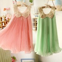 Wholesale Girls Chiffon Pleated Sequin Dress - summer baby sleeveless dress girls pleated chiffon dress girls sequin collar dress pink green kids vest dresses free shipping