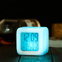 Wholesale Kids 12v - pressure release led mood lamp with alarm clock date information cartoon kids bedside lamp toy birthday gift