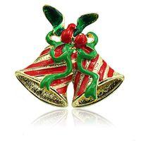 mischen mode broschen großhandel-Großhandel Broschen Pins Fashion 2 Farbe Doppel Glocken Mix Green Ribbon Broschen Für Männer Weihnachtsdekoration Schmuck