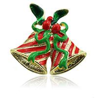 mezcla broches de moda al por mayor-Venta al por mayor Broches Pins Fashion 2 Color Double Bells Mix Green Ribbon Brooches For Men Christmas Decoration Jewelry