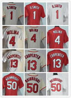 Wholesale Womens Red Shirts - 2017 Womens Baseball Jersey 4 Yadier Molina 1 Ozzie Smith 6 stan Musial 13 Carpenter 50 Adam Wainwright Lady Shirts cream red white grey