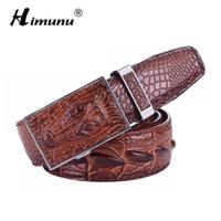 Wholesale Vintage Crocodile Belt - Retail Men's 100% Cowhide Genuine Leather Belt Vintage crocodile men Belts Luxury Designer Business Automatic Buckle 3 colors