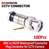 Wholesale Rg59 Bnc Compression Connectors - 100PC BNC Male Compression Coax RG59 CCTV Cable BNC Connectors