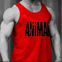 Wholesale Gym Clothing tank tops Cotton Men Tank Top Hurdles Bodybuilding Fine printed Vest Exercise Fitness Wear Animal Mens Sleeveless Shirts Vests