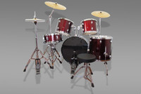 Acoustic drum kits France-Ensemble de batterie Jazz 5-PCS professionnelle pour kits de batterie rouge