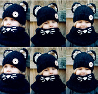 Wholesale Wholesale Snapback Hat Sets - wholesale beanies hats caps girls Knitting snapback hats Scarves suit winter Hats Scarves Sets fashion black baby Two Pieces cartoon cat 110