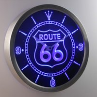 Wholesale Route 66 Neon - nc0315 Route 66 Bar Beer Neon Sign LED Wall Clock LUMINOVA Neon Sign Bar Beer Decor LED Wall Clock Free Shipping Dropshipping Wholesale