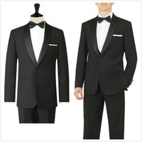 Wholesale White Dinner Jacket Black Shawl - 2016 New Trends Dinner jacket black shawl lapel Groom's suits Wedding Tuxedo For Men Best man's 3 Peices Suits(Jacket+Pants+Bowtie)