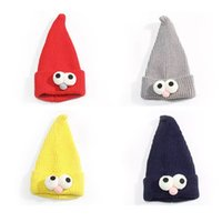 Wholesale Wizard Cap - Children's Sesame Street Knit Hat Pointy Wizard Hat with Big Eyes and Head Cap