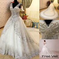 Wholesale White Dress Swarovski - 2016 New Luxury Crystal Zuhair Murad Wedding Dresses Lace V Neck Sheer Strap SWAROVSKI Bridal Gowns Cathedral Train Free Petticoat Free Veil