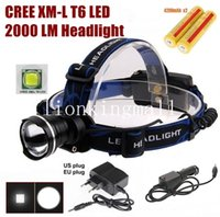 Wholesale Red Blue Headlamps - AloneFire HP87 Cree XM-L T6 LED Zoom Headlamp Headlight With 2 x18650 rechargeable battery AC charger car charger -black, Blue, red