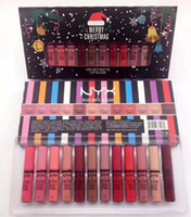 Wholesale Merry Christmas Boxes - 2017 New Makeup NYX Merry Christmas lipstick lip gloss set big box for Chrstmas gift free shipping