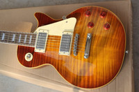 loja da guitarra frete grátis venda por atacado-Tigre Chama Bordo Top Custom Shop Brown Padrão Mogno Corpo Sem Cachecol Pescoço 1959 R9 Guitarra Elétrica Frete Grátis