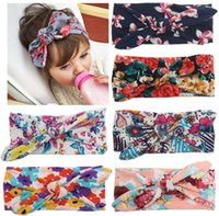 Wholesale Lace Rabbit Ears - New printed flower children headbands rabbit ear cotton headband for baby girls Lace elastic hair bands 6 colors hair ccessories