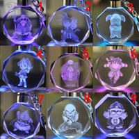 Wholesale Night Evolution - Dragon Ball Evolution Cartoon Anime Action Figure Toys LED Crystal Keychain With Colorful Night Light Key Chain Ring with Gift Box Packing