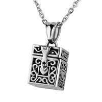 Wholesale Prayer Boxes Pendants - Lily Stainless Steel Prayer Box Pendant Cremation Urn Necklace Ash Memorial Jewelry With Gift Bag And Chain Six styles