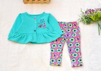 Wholesale Girl S Striped Pants Set - New Spring Baby Girl Clothes Set cardigan+pants 2 Pieces 100% Cotton Lovey Baby Floral Clothing Good Quality 4 s l