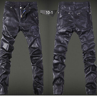 Wholesale Leather Panel Trousers - Wholesale-Pu Leather Skinny Men Pants Slim Fit Casual Skull Mens Pants Winter New Fashion Black Skull Men Trousers