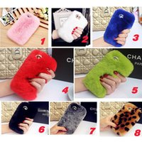 Wholesale Rex Cover - Rex Rabbit Hair Soft Touch Warm Fur Case Bling Diamond Plush Furry Cover Women Girl Lady Cover For iPhone X 8 7 Plus 6 6S Samsung S8 S7 Edge