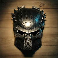 Wholesale Cool Predator Masquerade Masks Halloween Props Silver Full Face Mardi Gras Film Cosplay Mens Mask For Festive Gift Masquerade Party Supplies