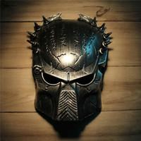 Wholesale Masquerade Cool Party - Cool Predator Masquerade Masks Halloween Props Silver Full Face Mardi Gras Film Cosplay Mens Mask For Festive Gift Masquerade Party Supplies