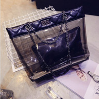 Wholesale Transparent Jelly Leather - New Top Quality Women Transparent Big Shoulder Bags Waterproof Chain Jelly Hand Bag Beach Shopping Handbag Composite Bag